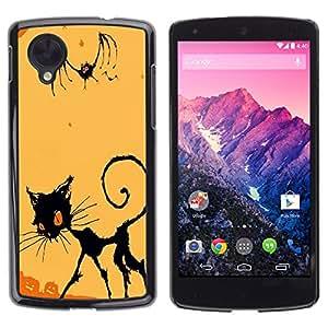 LG Nexus 5 D820 D821 - Metal de aluminio y de plástico duro Caja del teléfono - Negro - Halloween Evil Cat