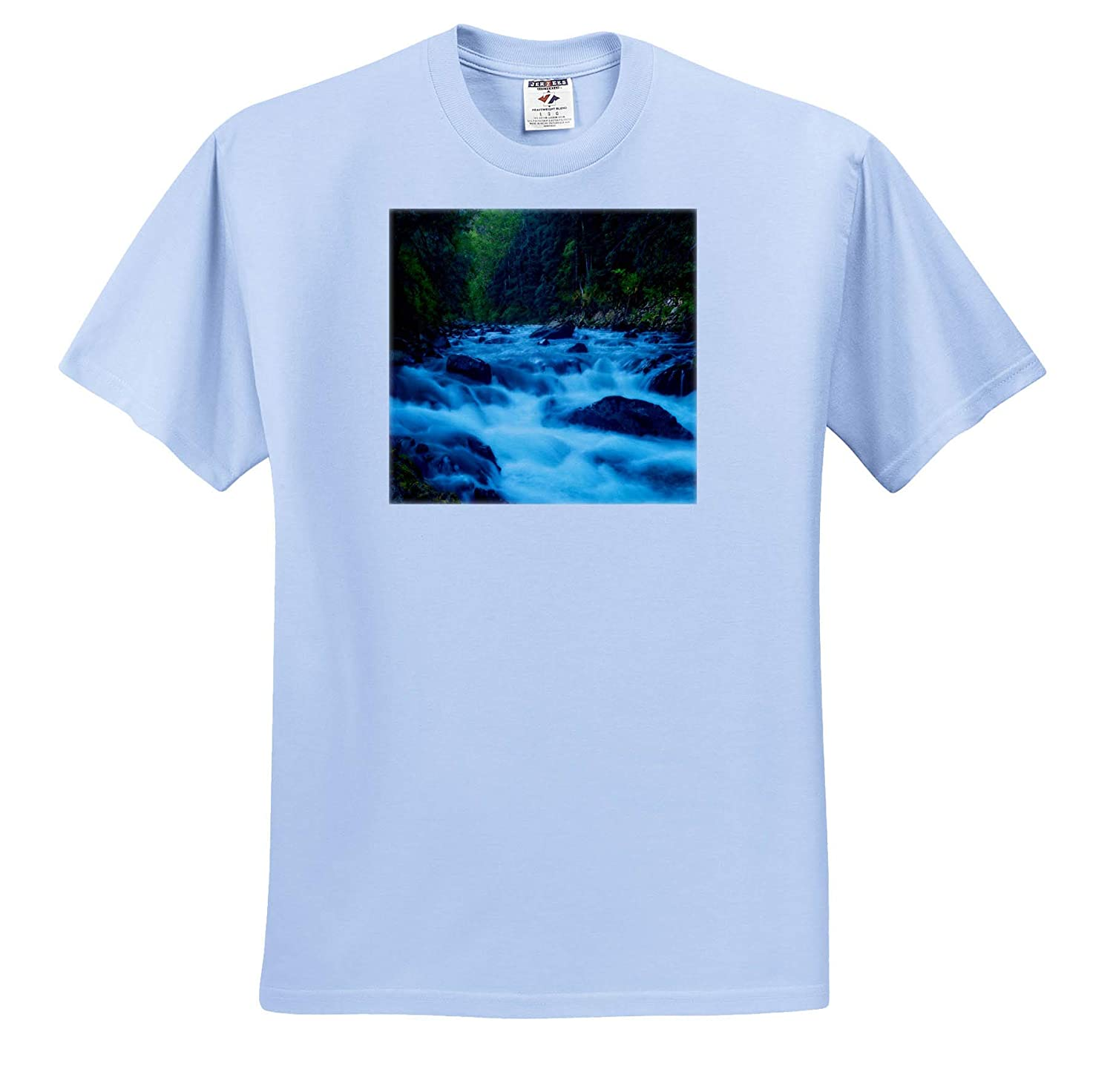 Adult T-Shirt XL Rushing Water Flowing Through Forest Landscapes 3dRose Mike Swindle Photography ts/_309071