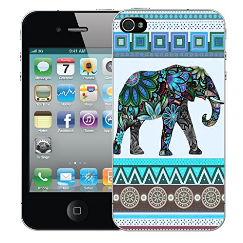 Mobile Case Mate iPhone 5s Silicone Coque couverture case cover Pare-chocs + STYLET - Blue Elephant pattern (SILICON)