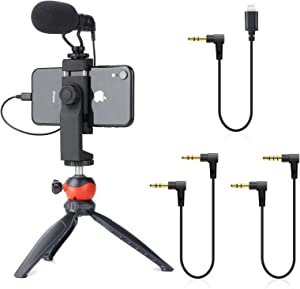 EACHSHOT Smartphone Video Rig with Shotgun Microphone, Mini Tripod, and Lightning Dongle Compatible with iPhone 11, 11 Pro, XS, XR, X, 8, 7, 6S, 6, 5S, 5 and Android - for Vlogging, YouTube, TikTok