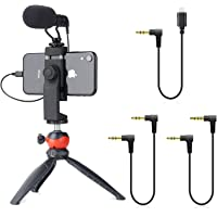 EACHSHOT Smartphone Video Rig with Shotgun Microphone, Mini Tripod, and Lightning Dongle Compatible with iPhone 11, 11…