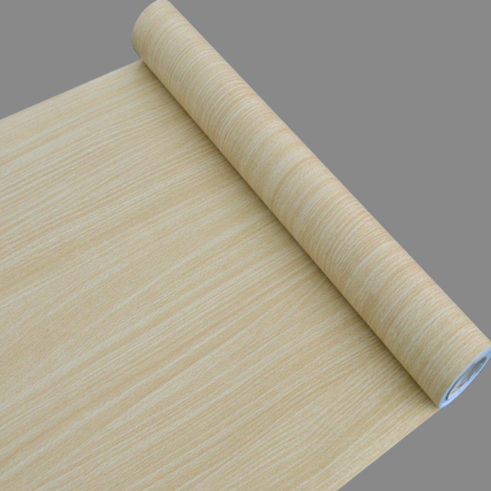 SimpleLife4U Beige Wood Grain Contact Paper Peel Stick Shelf Liner Countertop Door Sticker 17.7inch by 13 Feet 400451