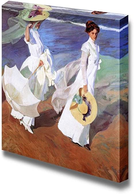 Women Walking On The Beach By Joaqu篓陋n Sorolla Famous Fine Art Reproduction World Famous Painting Replica On Ped Print Wood Framed Canvas Art Wall Art 16 X 16 O Posters