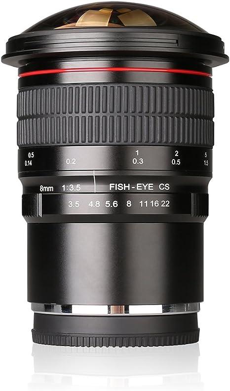Meike - 8 mm f/3,5 Ultra HD lente de ojo de pez para cámaras ...