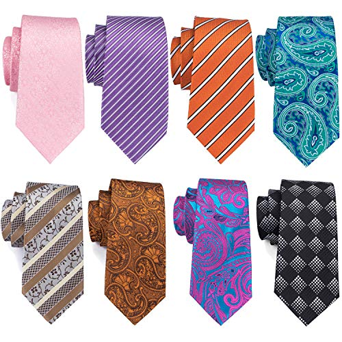 Barry.Wang Mens Tie Extra Long Necktie Pack Woven Silk Necktie Lot for Men