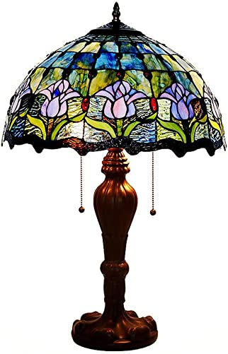 CCSUN Blue Tiffany Style Table lamp, 2-Lights Tulip Living Room Lighting fixtures 40W Zinc Alloy Base H 4inch for Bedroom Dining Room-B
