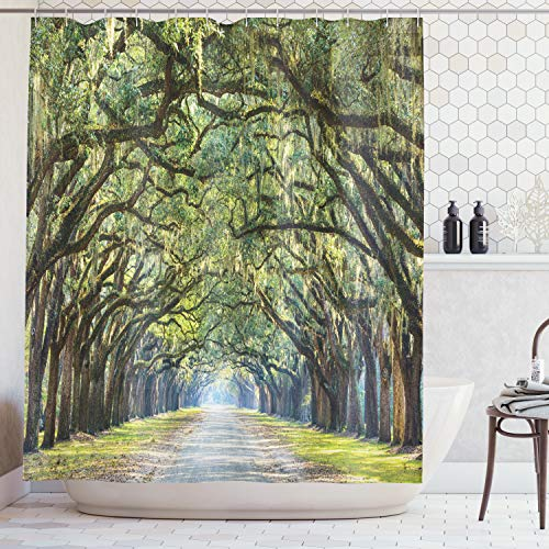 Ambesonne Forest Shower Curtain, Tranquil Pathway with Strong Green Trees Serene Nature Trekking Theme, Cloth Fabric Bathroom Decor Set with Hooks, 70