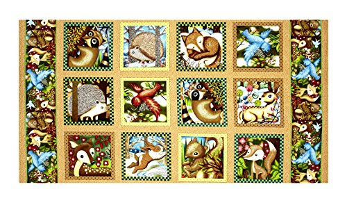 Fabri-Quilt Woodland Friends 23.5in Panel Blocks Multi Fabric