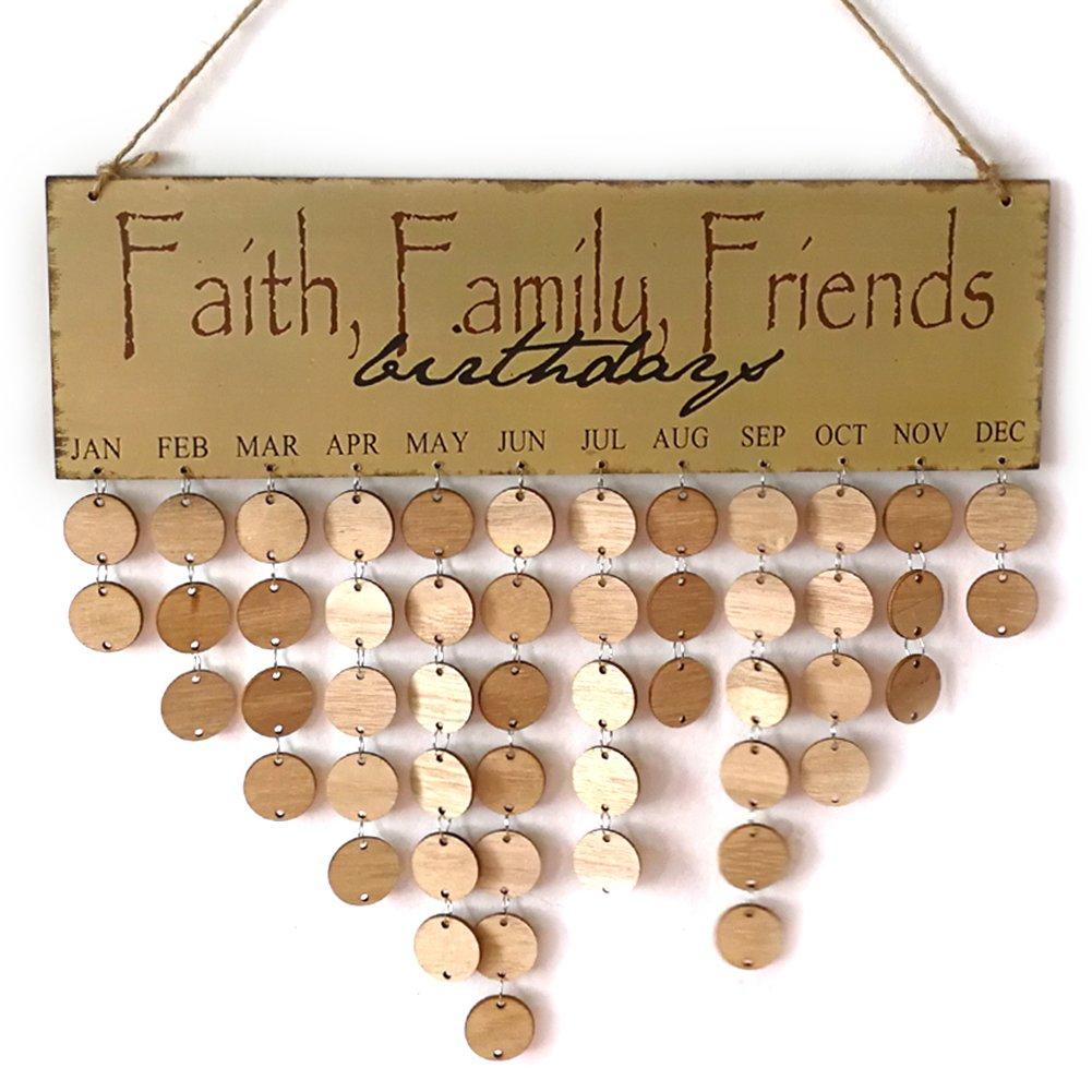 DIY anniversaire Calendrier en bois à suspendre, anniversaires Calendrier Panneau Tableau Famille amis anniversaire Calendrier Home Decor PROKTH