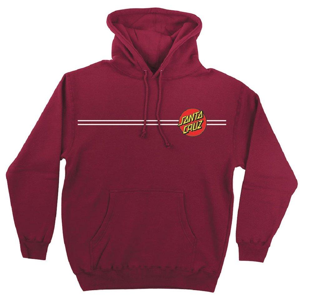 Santa Cruz Skateboards Classic Dot Hooded Pullover Sweatshirt (Currant, Small)