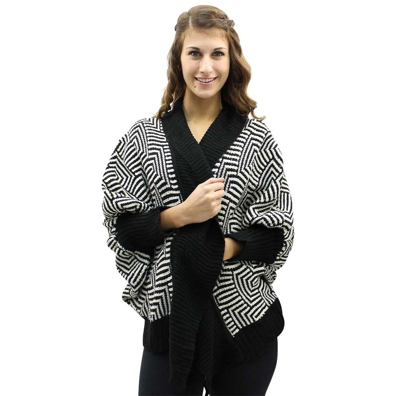 Luxury Divas Abstract Chevron Print Open Front Cardigan Sweater