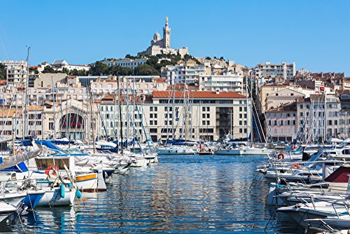 Marseille Provence-Alpes-Cote dAzur France View across Vieux-Port the Old Port to the 19th century Neo-Byzantine Basilica of Notre-Dame de la Garde Poster Print by Panoramic Images (36 x 24)