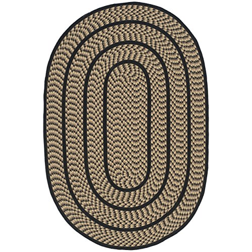Safavieh Braided Collection BRD401G Hand Woven Beige and Black Oval Area Rug (3' x 5' Oval) (Black Oval Braided Rug)