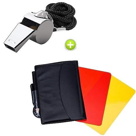Giveet Metal silbato con deportes árbitro tarjeta tarjeta de juego, rojo amarillo y metal de acero inoxidable Entrenador Silbato para fútbol