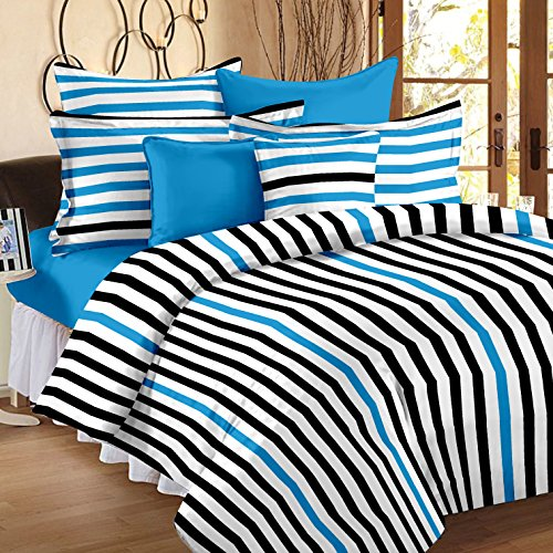Story@Home Metro Mix N Match 186 TC Twill Cotton Double Bed Bedsheet with 2 Pillow Cover