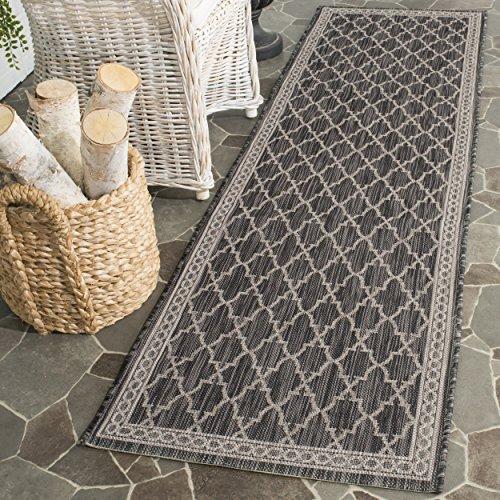 Safavieh Courtyard Collection CY8871-36621 Black and Beige Indoor/ Outdoor Runner (2'4