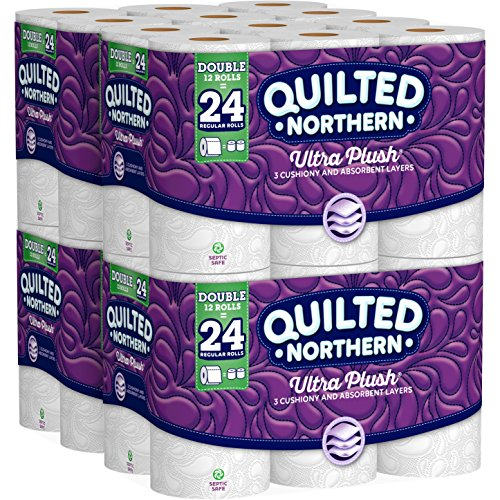 Quilted Northern Ultra Plush Toilet Paper, 48 Double Rolls, 48 = 96 Regular Rolls, 3 Ply Bath Tissue, 4 Pack of 12 Rolls - Luxurious Clean Natural