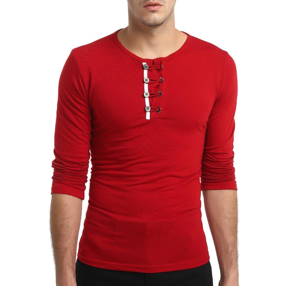 Clearance Sale Button T Shirts for Men vermers Fashion Men's Autumn Solid Long Sleeve Pullover Sweatshirts Top Blouse(2XL, Red)