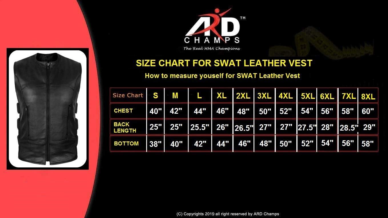 ARD Mens SWAT Motorcycle Biker Genuine Cowhide Leather Vest with Adjustable sides X-LARGE