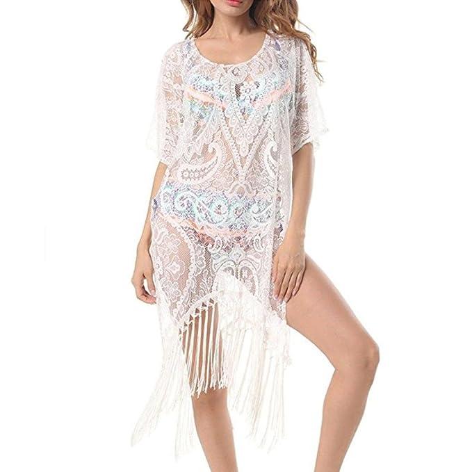 1d0b47409655 ❤️ Amlaiworld Vestidos de Playa Mujer Sexy Verano Mujeres Tops de Encaje  Floral Vestidos de baño Bikini Cover up Trajes de Baño Cubrir Mujer  Camisolas ...