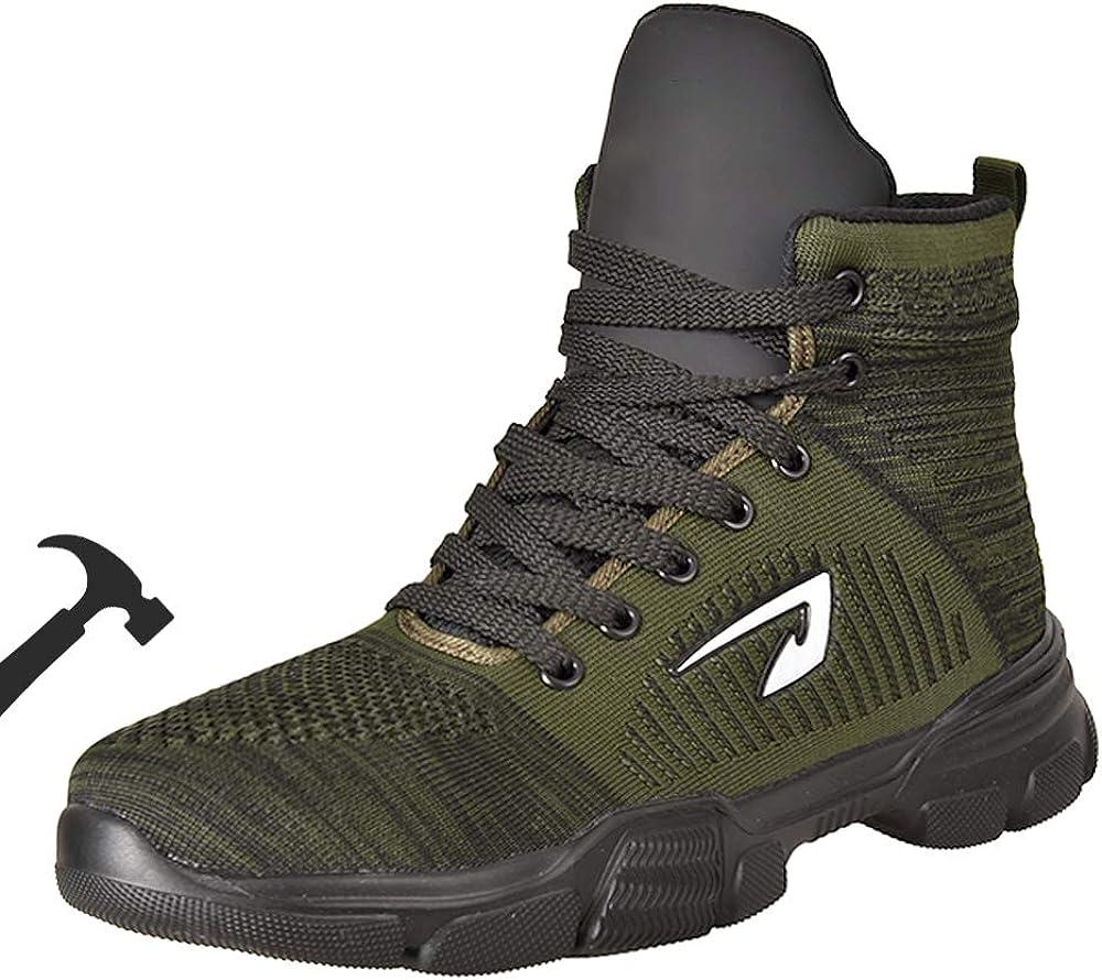 BAOLESEM Steel Toe Safety Work Boots for Men Women High Top Lightweight Industrial Construction Shoes