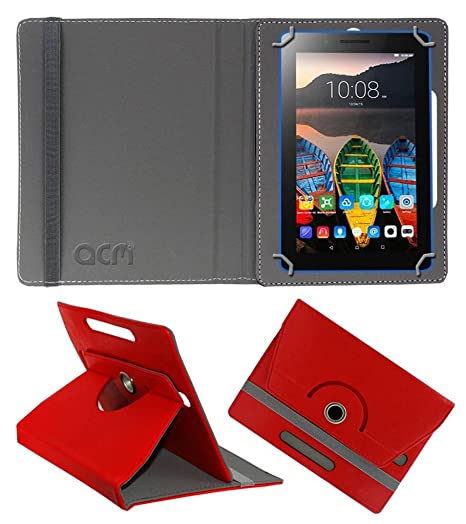 Acm Rotating Leather Flip Case Compatible with Lenovo Tab3 8 Tablet Cover Stand Red Tablet Accessories