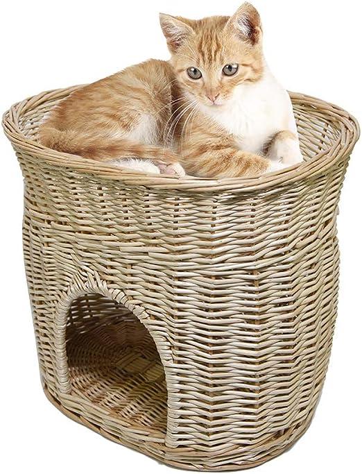 DMAR - Cama de Mimbre de 2 Pisos para 2 Gatos (sin Alfombrillas), Cama elevada para Gatos y Perros: Amazon.es: Productos para mascotas