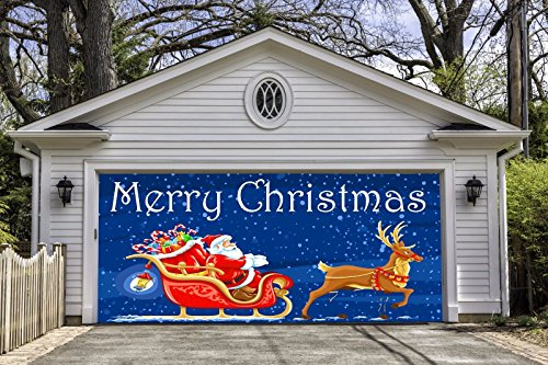 Merry Christmas Garage Door Covers Banners for 2 Car Garage Door Santa Decor Outdoor Holiday Full Color 3D Print Christmas Decorations Billboard House Art Murals size 82x188 inches DAV41 for $<!--$274.99-->