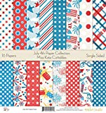 Pattern Paper Pack - July 4th - Scrapbook Card Stock Single-Sided 12''x12'' Collection Includes 16 Sheets - by Miss Kate Cuttables