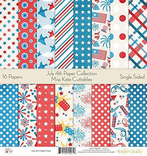 Pattern Paper Pack - July 4th - Scrapbook Card Stock Single-Sided 12''x12'' Collection Includes 16 Sheets - by Miss Kate Cuttables by Miss Kate Cuttables