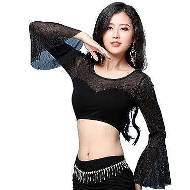 da10877557757 YiJee Women Dancewear Belly Dance Costume Dancing Wear Tops Shirts   Amazon.co.uk  Clothing