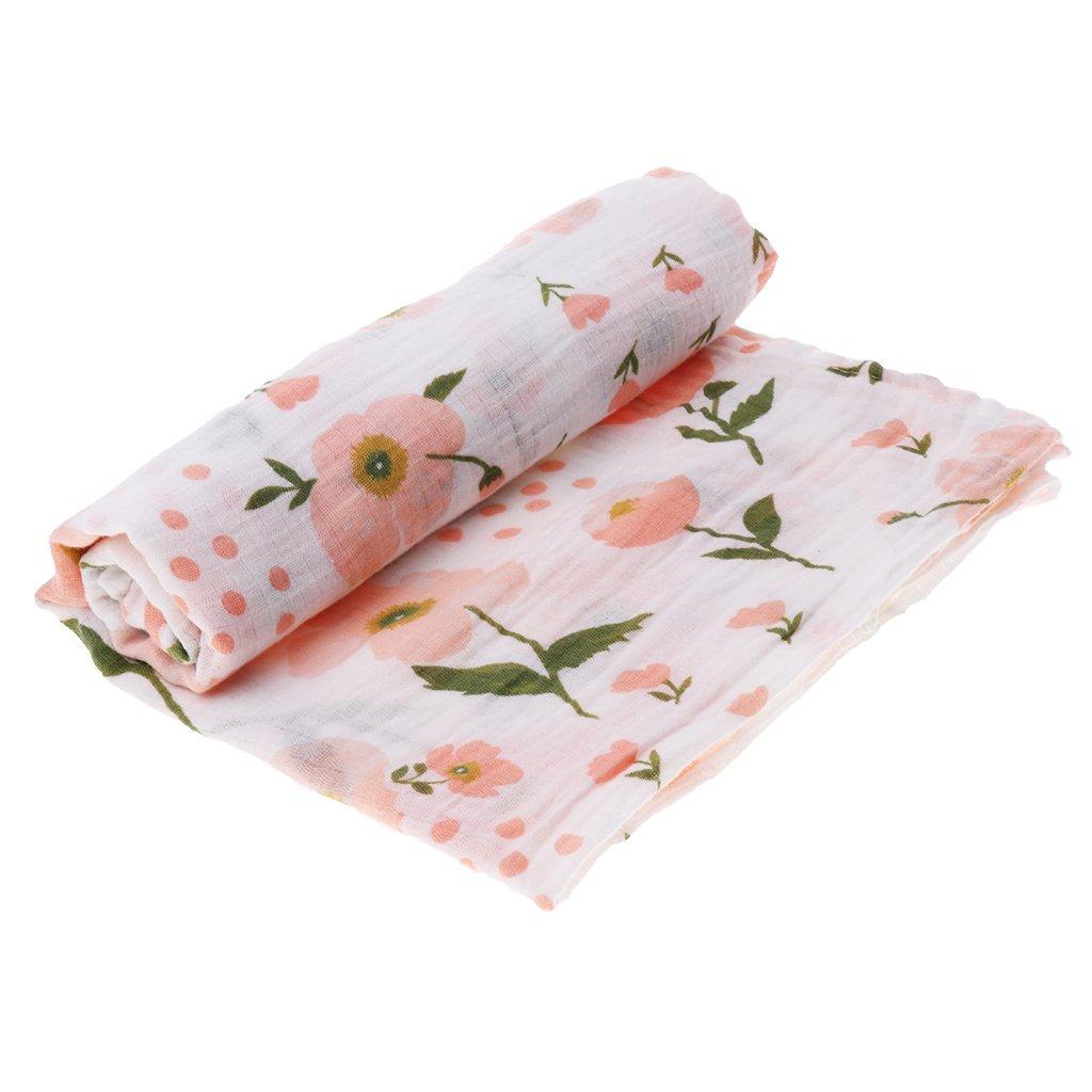 Homyl 2 Pcs Baby Swaddle Muslin Blanket Infant Multi-use Floral Blanket Infant Wrap as described Rose and Cherry Blossom