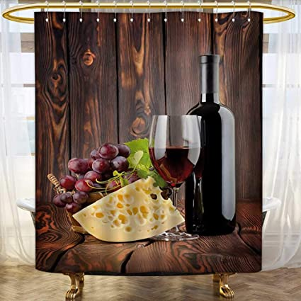 WineShower Curtains With Shower HooksRed Wine Cabernet Bottle And Glass Cheese