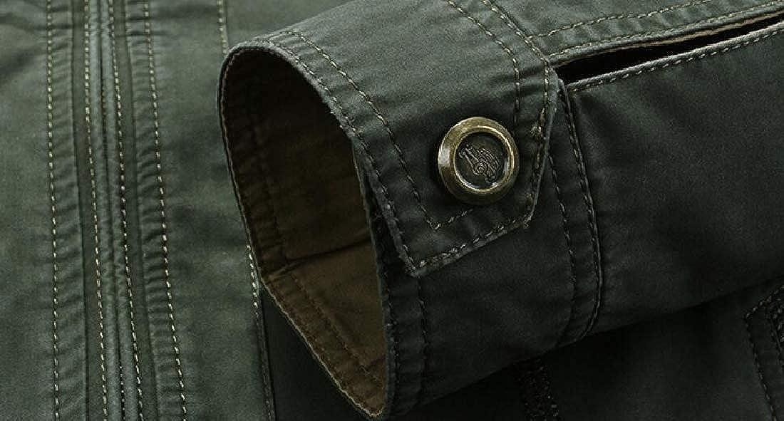 ouxiuli Mens Causal Classic Autumn Cotton Bomber Jacket Outerwear Coat
