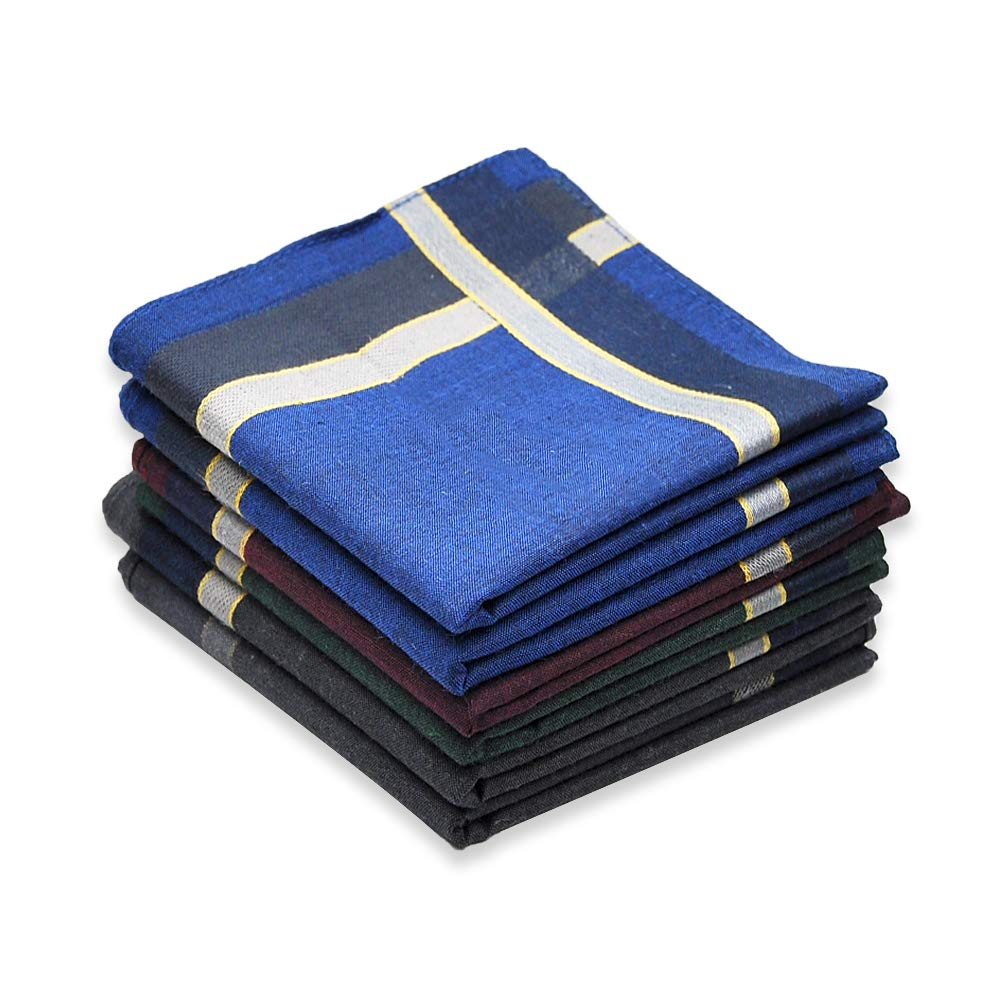 Cotton Handkerchief for Men, Soft Hanky with Classic Stripe, 6 Pieces, Gift Set mytops