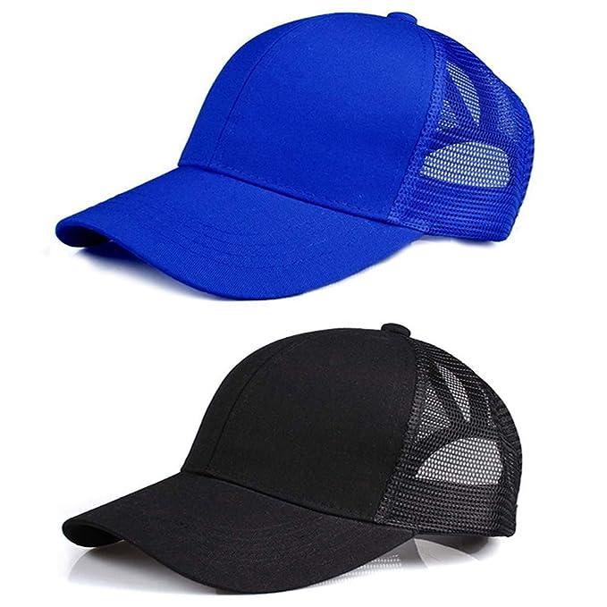 282413144 Lobeve 2 Pack of Ponytail Baseball Cap Hat Adjustable Mesh Trucker Ponytail  Messy High Bun Hat-Blue: Amazon.co.uk: Clothing