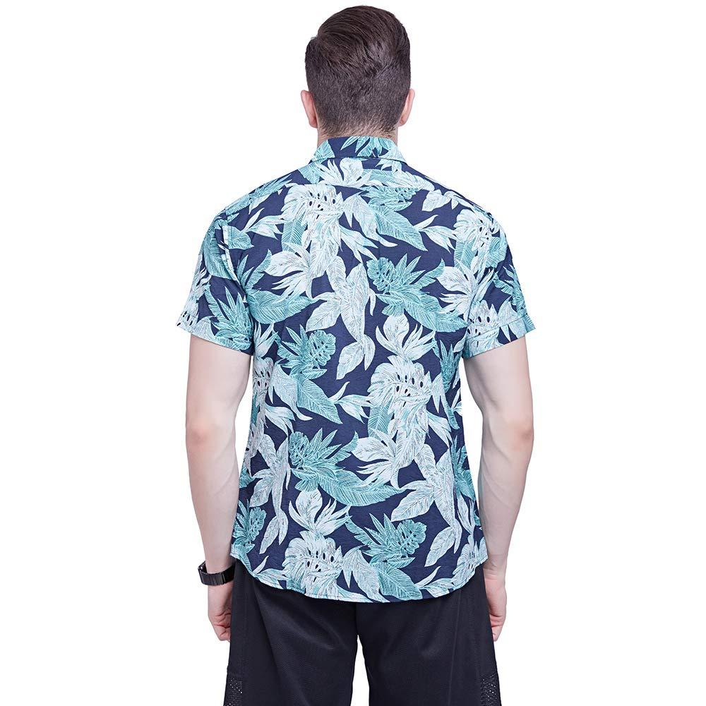 GUIGUI Chemise /à Manches Courtes pour Hommes 2019 /ÉT/é Coton 3D Impression Chemise De Plage Casual La Mode Hawaii Chemise