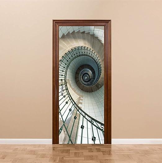 QTXINGMU Puerta 3D Pegatina Escalera De Caracol De Estilo Europeo Adhesivo De Pared Dormitorio Salón Decoración Cartel Adhesivo Impermeable De PVC: Amazon.es: Hogar