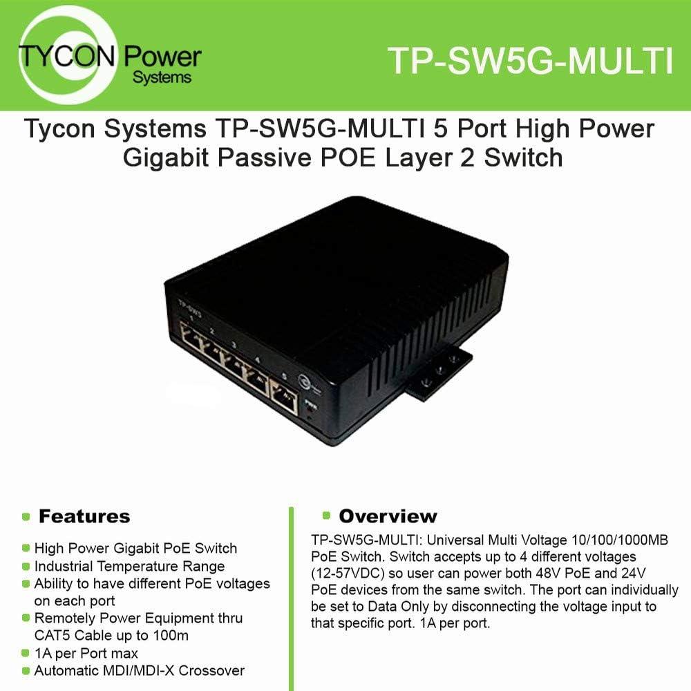 12-58VDC Wire Term in Max 1A//Port Incl DIN Rail Mt Kit PoE Pinout:4,5V+ ;7,8V- 4X Passive PoE 1x Uplink Port Each Port Diff PoE Volt 5 Port Unmanaged GigE Passive PoE Layer 2 Netwrk Switch