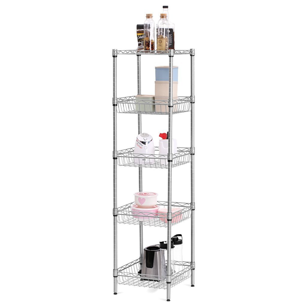 LANGRIA Wire Shelving Unit with Baskets,Storage Rack Kitchen Corner Shelf Organization Utility Rack for Living Room Bedroom Bathroom Laundry Office, 5-Tier 165 lbs Capacity, Silver