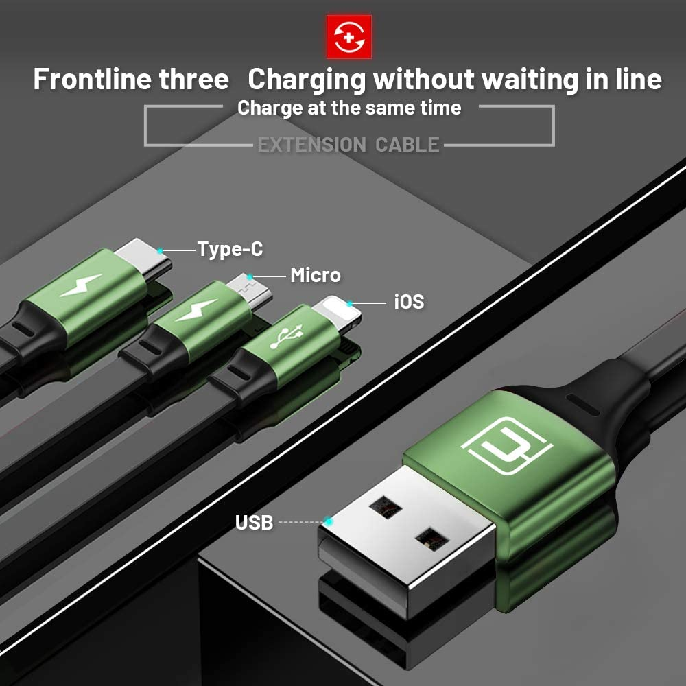 CAFELE USB Charging Cable 3 in 1 Fast Charger Cord Connector for Phone//Type C//Micro USB Port Retractable Power Adapter,Data Transfer 3A Compatible for Tablets//Samsung//Google Pixel and More-4FT Green