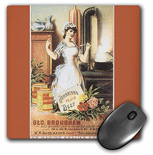 3dRose BLN Vintage Trade Cards Ad Art Reproductions - Johnstons Fluid Beef for Making Gravies Soups woman Cooking - MousePad ()