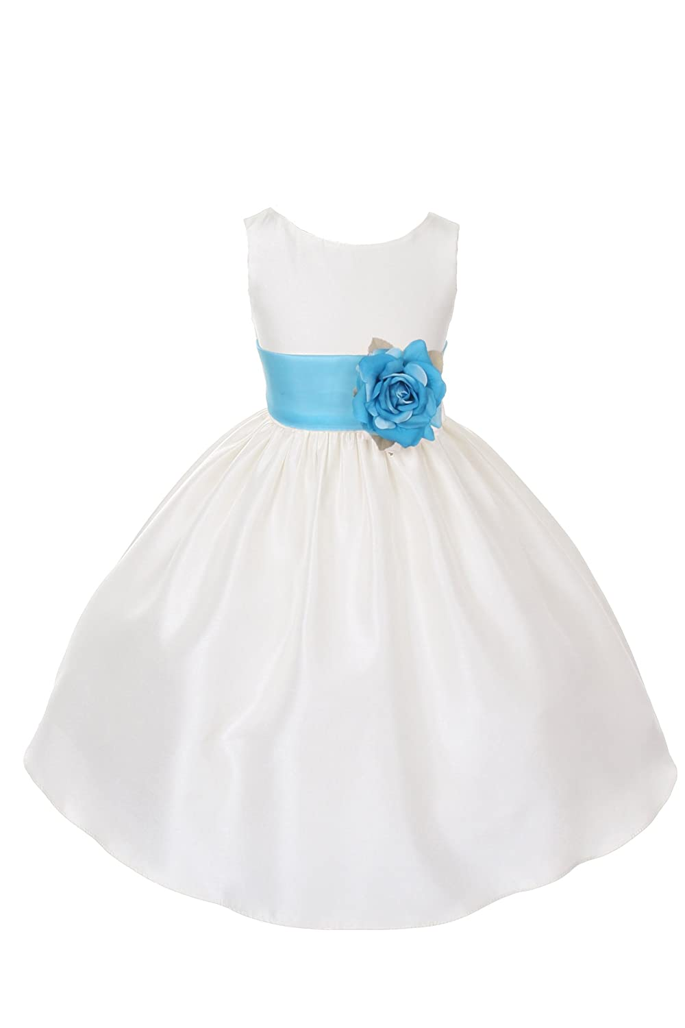 b052710a2 Amazon.com: 23 Colors Poly Silk Flower Girl Pageant Dress w/Sash and Flowers  Infant-14: Clothing