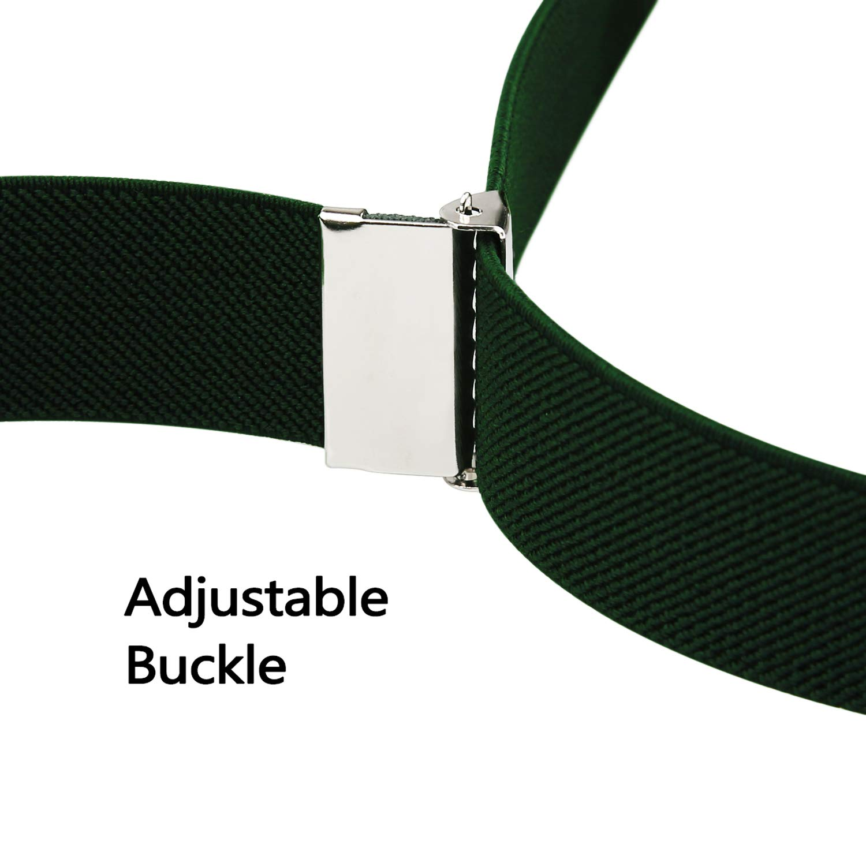 Unisexe Bretelles 2.5cm Largeur 3 Clips Boucle R/églable-Noir