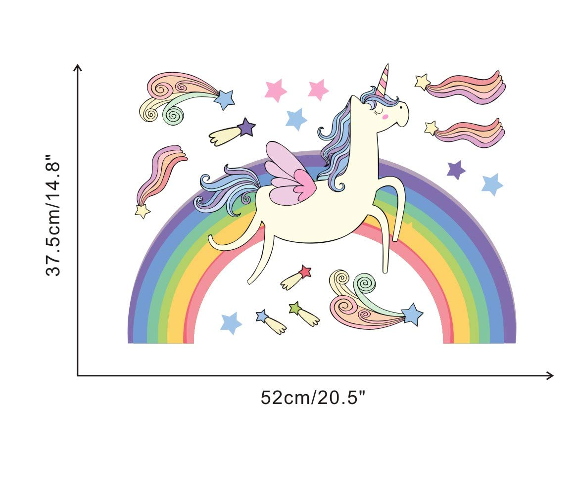 Rainbow Unicorn Wall Decal, Meteor Stars Sticker for Nursery Room, Colorful Girls Love Decal, Running Horses Unicorn… 6