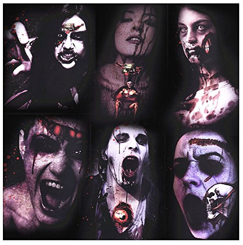 Halloween Makeup - Scar Tattoos, Halloween Makeup, 6 Pack Halloween Terror Tattoo Stickers, 3D Waterproof Body Wound Zombie Scar Fake Tattoo Stickers