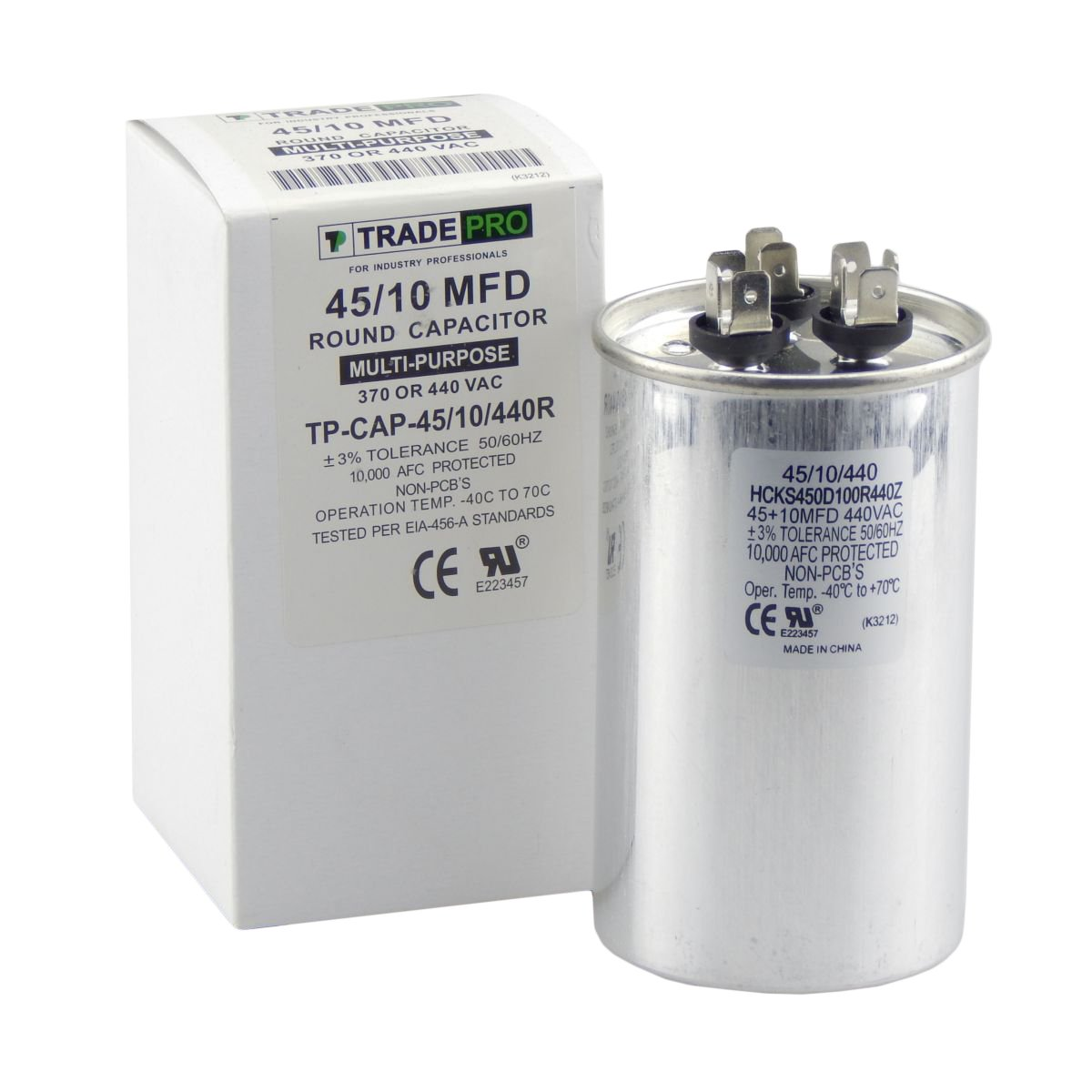 TradePro 45/10 MFD 440 or 370 Volt Round Run Capacitor Replacement