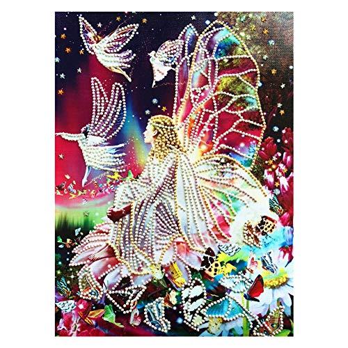 Peyan Butterfly Angel Dancing 5D Diamond Painting Kits Special Shaped Drill Crystal DIY Wall Sticker 3D Diamond Mosaic Cross Stitch Embroidery 11.8 x 15.7 -