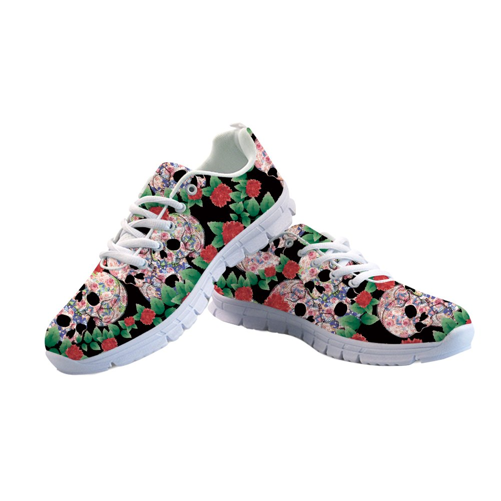 FOR U DESIGNS Suger Skull Run Shoes Woman Walking Comfort Sports Athletic Sneaker US 9