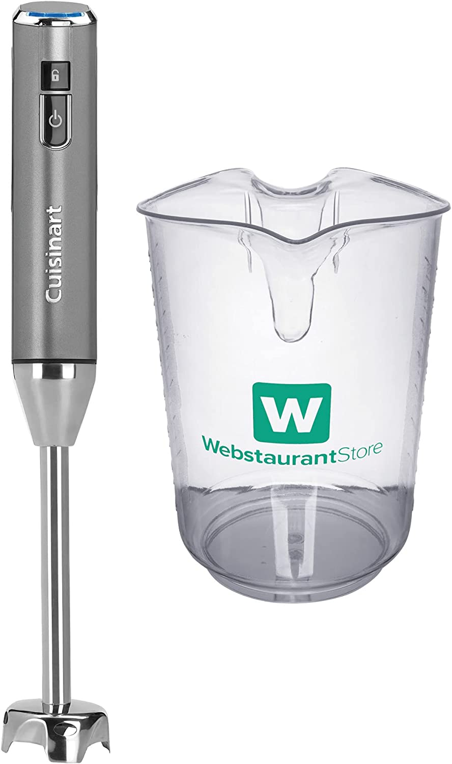Cuisinart RHB-100 EvolutionX Cordless Rechargeable Hand Blender with 4 Qt. Clear Polycarbonate Measuring Cup Bundle (2 Items)